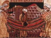 Miniature of Muhammad re-dedicating the Black Stone at the Kaaba. From Jami Al-Tawarikh, c. 1315