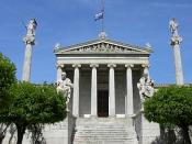 The National Academy in Athens, with Apollo and Athena on their columns, and Socrates and Plato seated in front. The modern National Academy in Athens, with Apollo and Athena on their columns, and Socrates and Plato seated in front. Español: La Academia N