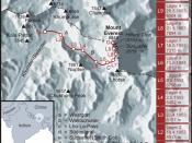 Karte der Route der Erstbesteigung des Mount Everest durch Edmund Hillary und Tenzing Norgay