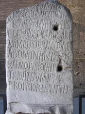 Inscription for 5th century Roman Consul Decius Marius Venantius Basilius in the Colosseum in Rome. CIL VI 1716 c, VI 32094 c.