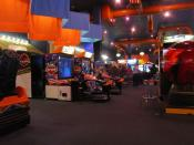 A long exposure photograph (2.5 seconds) of the video arcade en at the Dave & Buster's in Hilliard, Ohio en .