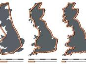 The coastline of the United Kingdom as measured with measuring rods of 200 km, 100 km and 50 km in length. The resulting coastline is about 2350 km, 2775 km and 3425 km; the shorter the scale, the longer the measured length of the coast.