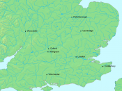 English: Map of southern England showing places relevant to the Anglo-Saxon chronicle. The file was created using DMIS. On that site it is stated that