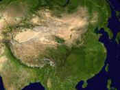 Greater China. Note the oval Tarim Basin, the dryer area separating Inner and Outer Mongolia and the projection of steppe into Manchuria