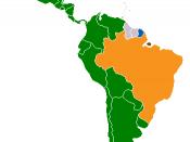 Romance languages in Latin America: Green -Spanish; Blue -French; Orange -Portuguese
