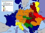 The Holocaust: ghettos per region and state. Color burgundy stands for 8 or more, color blue for none.