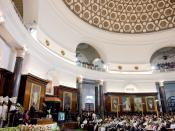 English: 2010: President of the United States of America Barack Obama at the Parliament of India in New Delhi addressing Members of Parliament of both houses in a Joint Session of the Parliament of India.