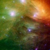 Pleiades (M45, Seven Sisters) open cluster - infrared image from NASA's Spitzer Space Telescope