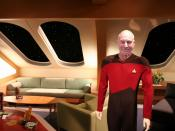 A derivative collage from two other files - captain Jean-Luc Picard in his quarter on the USS Enterprise-D