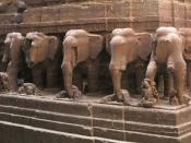 Carved elephants at Kailash temple
