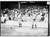 [Doc Crandall (left) & Grover Hartley (right) at Polo Grounds, NY, New York Giants, NL (baseball)]  (LOC)