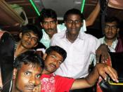 English: A Group Of Indian Teenagers In Bus For Industrial visit