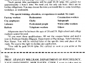 Advertisement for the recruiting of the Milgram experiment subjects. The GIF from this page http://en.wikipedia.org/wiki/File:Milgram_Experiment_advertising.gif was losslessy compressed to PNG (it was in public domain).