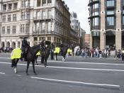 MPS mounted officers policing a protest at Westminster