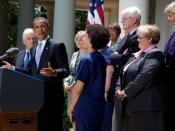 President Barack Obama, joined by members of the American Nurses Association in the Rose Garden, speaks about the need for health care reform.