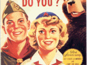 Smokey Bear with members of the Boy Scouts of America and the Camp Fire Girls in 1960