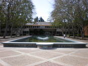 A fountain at Varian Medical Systems headquarters in Palo Alto, California.