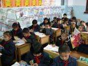Elementary school classroom in western province of Xinjiang, China.