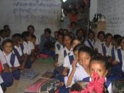 Children wearing uniforms at a primary school in a village in Madhya Pradesh.