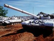 English: United Nations tanks at the Belgian compound in Kismayo. The UN forces are in Somalia in support of Operation CONTINUE HOPE. Front view of a T-72 main battle tank with UN markings. Obviously these T-72's belong to the Indian Army.