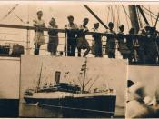 The Ship Corinthia, July 1947 Alexandria port. On the deck illegal and legal immigrants to Israel. In the left side my father, he was an illegal immigrant called
