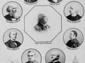 Justices of the United States Supreme Court (portraits of Chief Justice Fuller, Horace Gray, Rufus W. Peckham, Edward D. White, John M. Harlan, Henry B. Brown, David J. Brewer, Stephen J. Field, and George Shiras, Jr.)