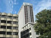 English: An image of the Nestle Tower (UK Headquarters) in Croydon. This was taken from Queen's Gardens