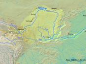 English: Map of the Yellow River, whose watershed covers most of northern China and drains to the Bohai Sea