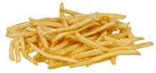 English: McDonald's french fries on a white stoneware plate.