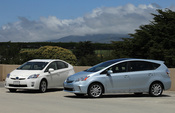 Here's photos of the new Toyota Prius V (coming in late 2011) next to my 2010 Toyota Prius.