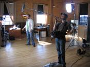 English: This is a production sound mixer Lance Lundstrom in action.