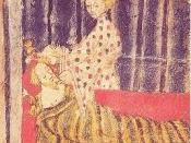 English: Temptation of Sir Gawain by Lady Bercilak: Cotton Nero A. x, f. 129 http://mockingbird.creighton.edu/english/fajardo/teaching/eng340/gawain.htm