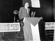 English: Gamal Abdel Nasser addressing the first general conference of the Palestine Liberation Organization in 1964.