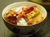 English: Vegetarian braised mock meat(Lou mei) on a bowl of rice.