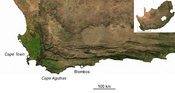 English: location of Blombos Cave archaeological site, South Africa Français : localisation du site archéologique de Blombos, Afrique du Sud