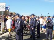 Police observing crowds prior to confrontations