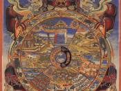 English: The Bhavacakra (Sanskrit; Devanagari: भवचक्र; Pali: bhavacakka) or Wheel of Becoming is a symbolic representation of continuous existence proces in the form of a circle, used primarily in Tibetan Buddhism.