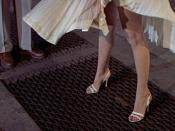 Marilyn Monroe's skirt blows upwards in the 1955 film The Seven Year Itch directed by Billy Wilder.