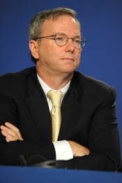English: Eric Schmidt, Executive Chairman of Google Inc., at the press conference about the e-G8 forum during the 37th G8 summit in Deauville, France.