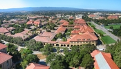 View from Hoover Tower observation deck of the Quad and surrounding area, facing west