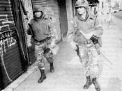 English: Soldiers of the (Mechanize) Artillery, 40. Infantry Division (California Army National Guard) patrol the streets of Los Angeles, USA.