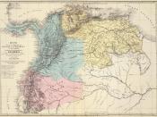 Español: Mapa de los tres departamentos Venezuela, Cundinamarca y Quito, que confomaron la República de Colombia y que muestra las campañas de la guerra de independencia entre 1821 y 1823. Tomado del