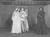 Pleasaunce Baker (Juliet), Mary Nearing (Romeo), Shirley Putnam (Friar Lawrence) in Shakespeare's Romeo and Juliet;