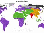 English: Major religions distribution.