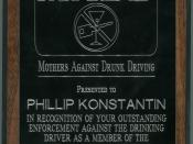 English: Photo of the award presented to CHP Officer Phil Konstantin by Mother's Against Drunk Drivers