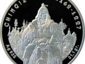 English: Reverse 100 Tenge coin depicting Genghis Khan
