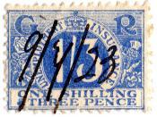English: 1923 unemployment insurance stamp.