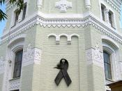 English: Red_ribbon_of_HIV_AIDS_Monument_in_Kiev