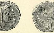 Denarius depicting Julius Caesar as Pontifex Maximus