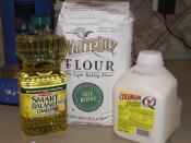 Biscuits or dumplings. ONE part vegetable oil TWO parts buttermilk FOUR parts self-rising flour